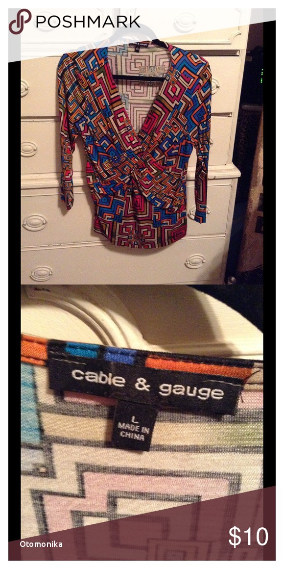 Cable and Gauge Clothing Uk Cable & Gauge 3 4 Sleeve top Size L My Posh Closet